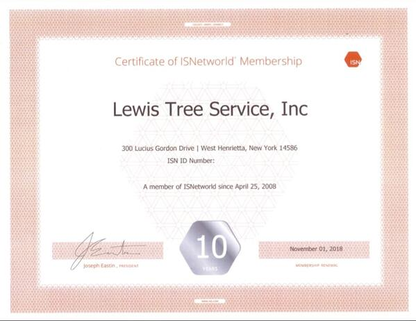 Lewis Tree member of ISNetworld