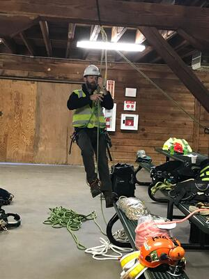 Ascender safety training for utility vegetation management